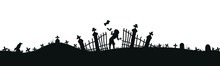 Black Silhouette Of Cemetery Elements With Gravestones And Crosses. Cemetery Panorama. Vector Illustration. EPS10