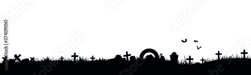 Black silhouette of cemetery elements with gravestones and crosses Wallpaper Mural