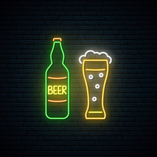 Neon Beer Sign. Nightly Bright...