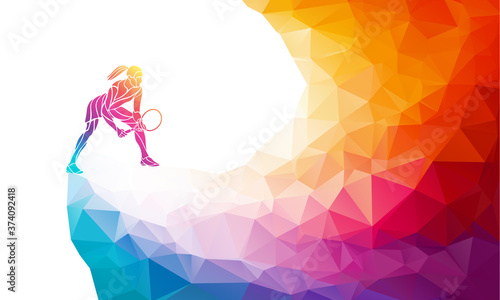 Creative silhouette of female tennis player Fototapete