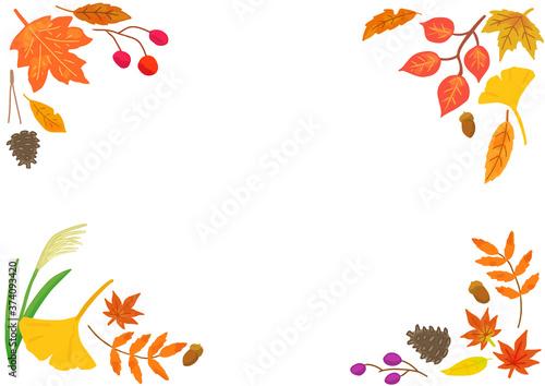 秋の紅葉した葉っぱのフレーム Canvas Print