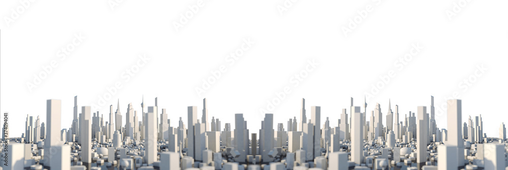Fototapeta 3D Rendering white city, Cityscape with building house and street with shallow depth of field effect