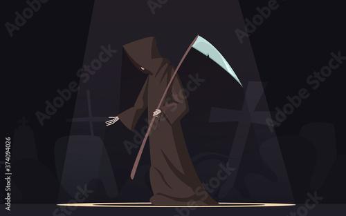 Fotografija Death With Scythe Symbol Cartoon Image