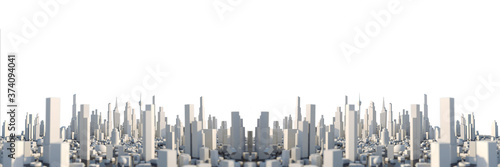 Obraz 3D Rendering white city, Cityscape with building house and street with shallow depth of field effect - fototapety do salonu