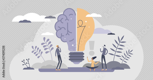 Creative brain with innovative knowledge thinking scene tiny person concept Wallpaper Mural