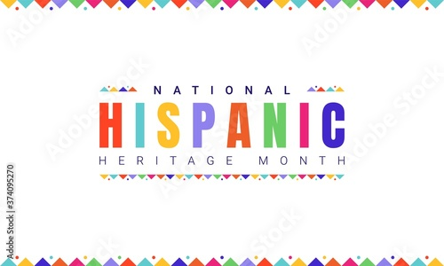 National Hispanic Heritage Month horizontal banner template with colorful text and flags on white background Slika na platnu