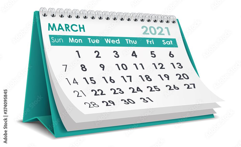 Fototapeta March 2021 Calendar