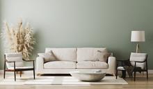 Pastel Green Room Interior, Living Room Interior Mockup, Empty Green Wall, 3d Rendering