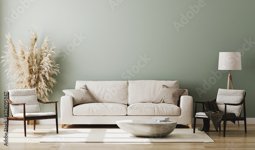 Pastel green room interior, living room interior mockup, empty green wall, 3d re Fototapet
