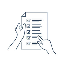 Terms And Conditions Icon - Contract And License Agreement - Hands Holding Business Paper With Check List - Human Readung Contract Concept