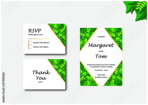 Fototapeta Wedding invitation - Leafs. Identyfikacja ślubna - zaproszenia ślubne - wzór liście obraz