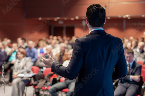 Speaker giving a talk on corporate business conference Canvas