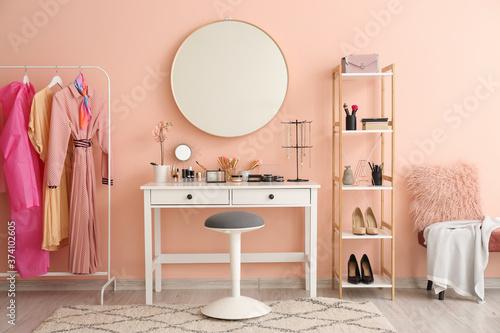 Fotografie, Tablou Stylish interior of modern dressing room