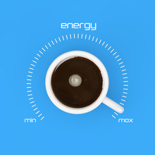 Top View Of Cup Of Black Coffe As Energy Control At Maximum Value. 3d Rendering