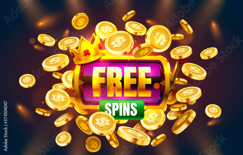 Casino free spins, 777 slot sign machine. Vector