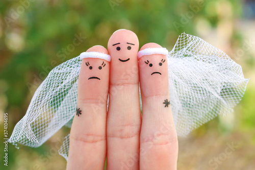 Fingers art of people. Plural marriage. Canvas Print