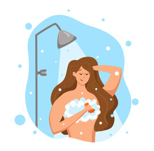 Woman Taking Shower In Bathroom. Vector Illustration Of Happy Girl Washing Herself With Shampoo And Soap.
