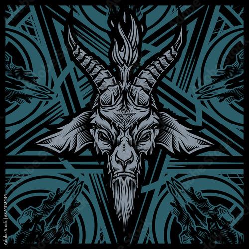 Cuadros en Lienzo Baphomet goat head