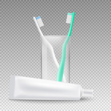 Realistic Mockup Of Toothpaste Tube Lying Next To Toothbrush Holder