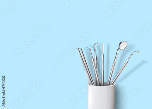 Dental instruments in ceramic cup on background vector illustration