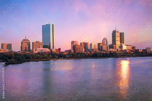 View of the Boston skyline from across the Charles River at dusk. Canvas Print