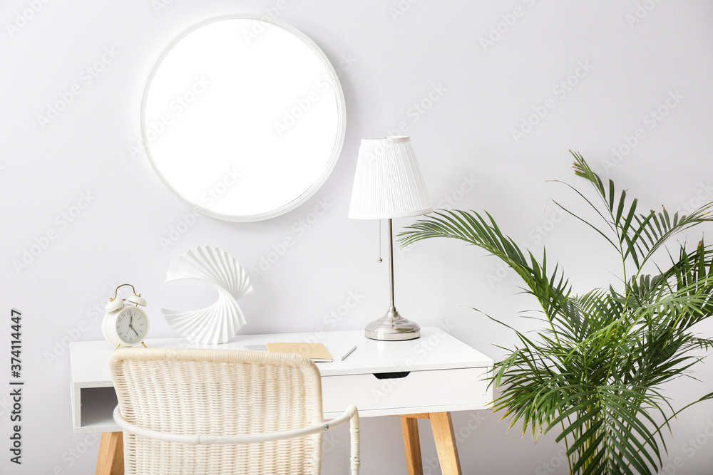 Fototapeta Stylish interior of room with table and mirror
