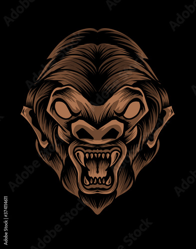Cuadros en Lienzo Illustration vector monkey head on black background.