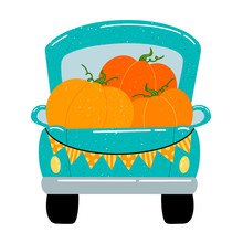 Flat Vector Illustration Of A Cute Cartoon Green Pickup Truck With Orange Pumpkins. Autumn Harvest Farm Truck Rear View Isolated On White Background.