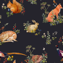 Beautiful Vector Seamless Floral Pattern With Watercolor Forest Plants And Animals. Stock Illustration.
