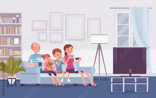 Fotografía Family sitting watching together TV at home