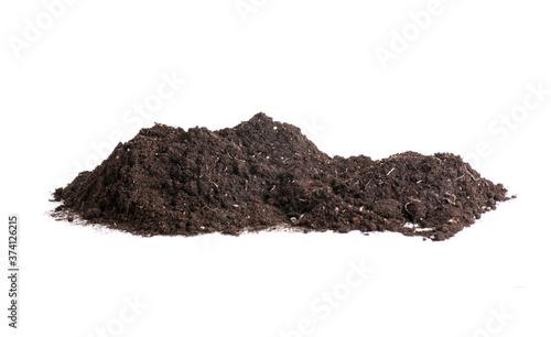 earth soil heap on white background isolated Fototapet