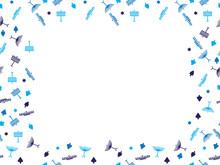 Blue Hanukkah Symbols Frame - Menorah, Dreidel And Star Of David Frame On White Background