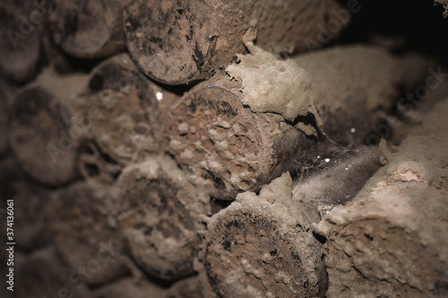 aged wine bottles covered with mold in vintage wine cellar Wallpaper Mural