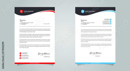 Fototapeta Business style letter head templates for your project design, Vector illustratio