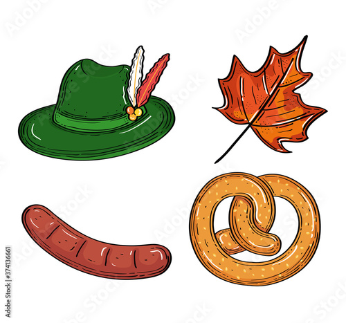 set icons of oktoberfest beer festival celebration vector illustration design
