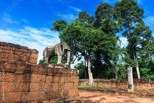 elephant sculpture, Siem Reap, Cambodia Canvas Print