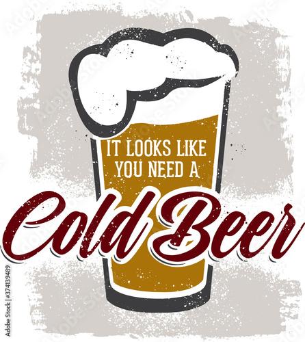 Vintage Cold Beer Bar Sign Fototapet