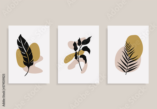 Obraz Set of posters with elements of tropical leaves and abstract shapes, modern graphic design. - fototapety do salonu