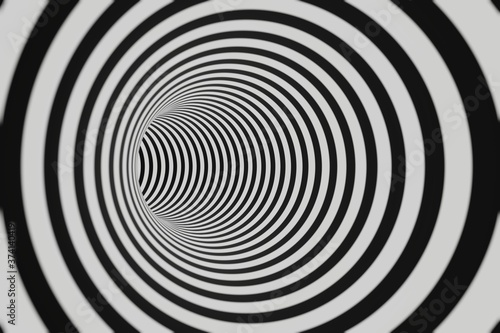Fototapety, obrazy: Black and white striped tunnel animation background animation 3d rendering