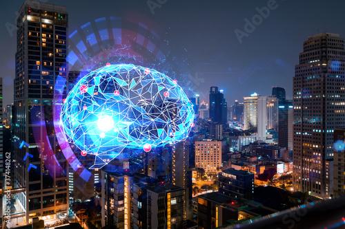 Foto Human brain hologram, aerial panoramic city view of Bangkok at night