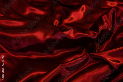 Fototapeta Abstract red drapery cloth, Dark red fabric background