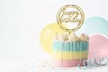 Pastel Drip Birthday Cake