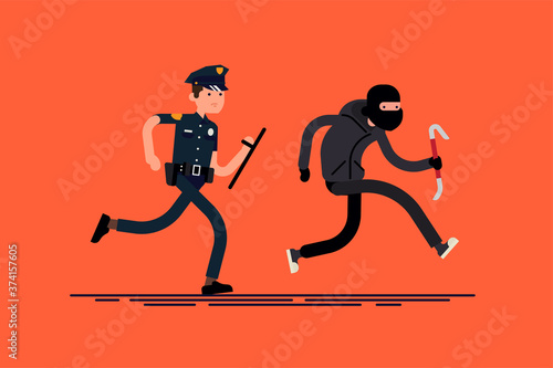 Male cop pursuing burglar Canvas Print