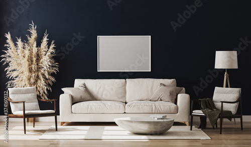 Blank picture frame mock up in blue room interior , 3d rendering Fototapet