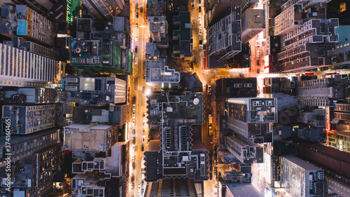 Canvastavla Aerial top view of downtown district  buildings in night city light