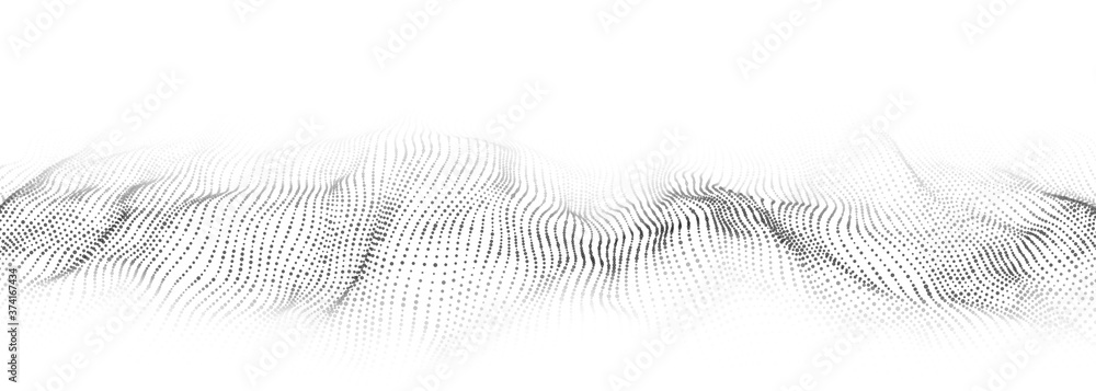 Fototapeta Vector abstract white futuristic background. Big data visualization. Digital dynamic wave of particles.