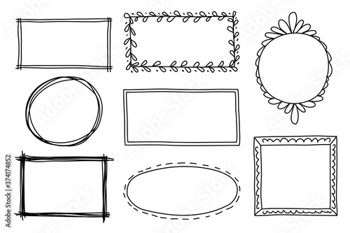 Obraz na plátně Hand drawn set of frame, border with different shapes