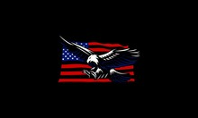 American Flag Eagle Vector Ill...