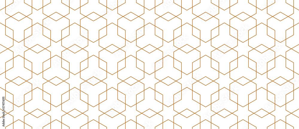 Fototapeta Vector seamless geometric pattern. Modern thin hexagon grid texture.