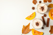Composition with pumpkin latte on white background, top view